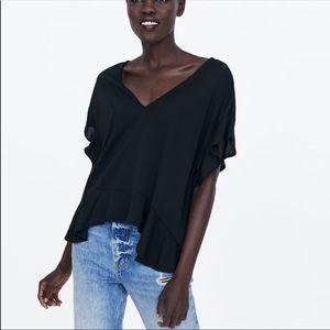 NWT Zara Black Short Sleeve Ruffled Top medium
